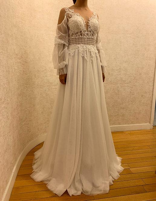 209069 Sheath Hand Beaded Wedding Dress