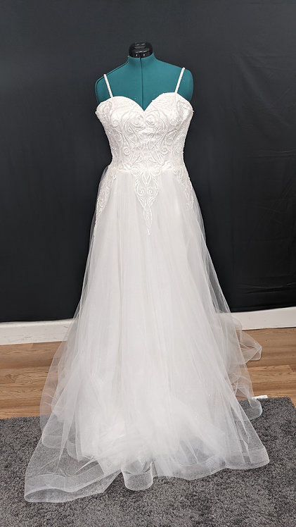 21563 A-Line Hand Beaded Plus Size Wedding Dress