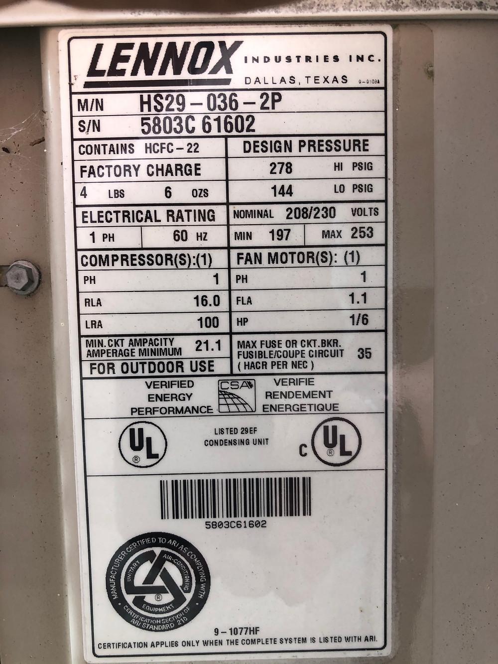 AC label, HVAC inspection