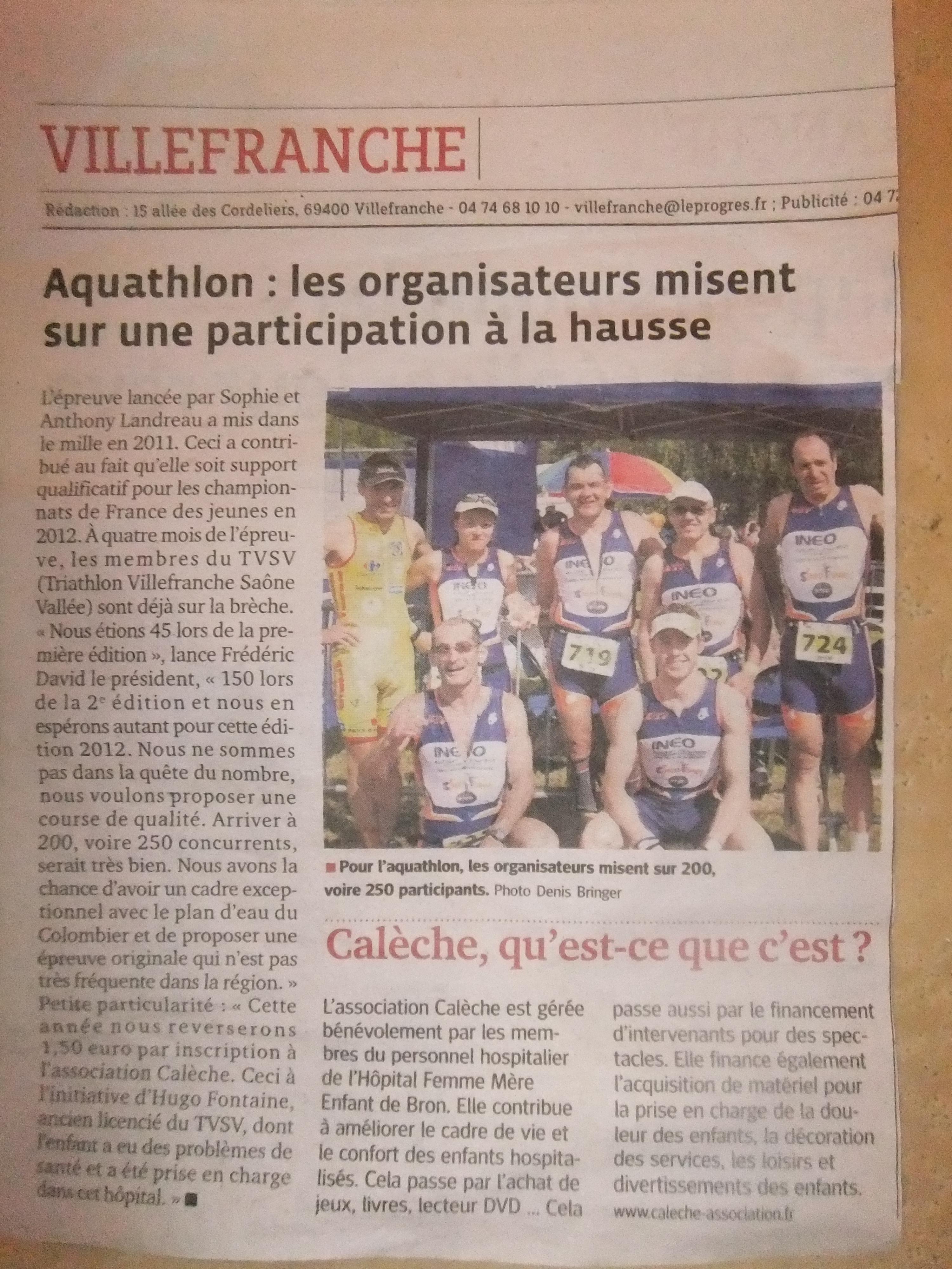 LE PROGRES Aquathlon  les organisateurs misent sur une participation en hausse