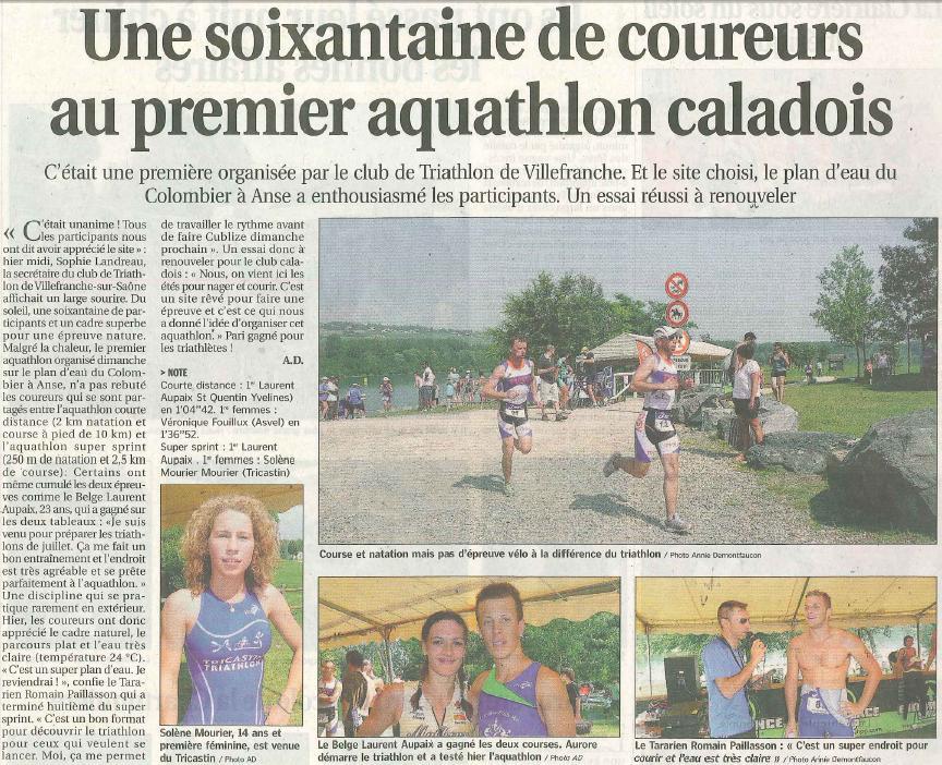 LE PROGRES  Une soixante de coureurs au 1er aquathlon caladois P2 2010