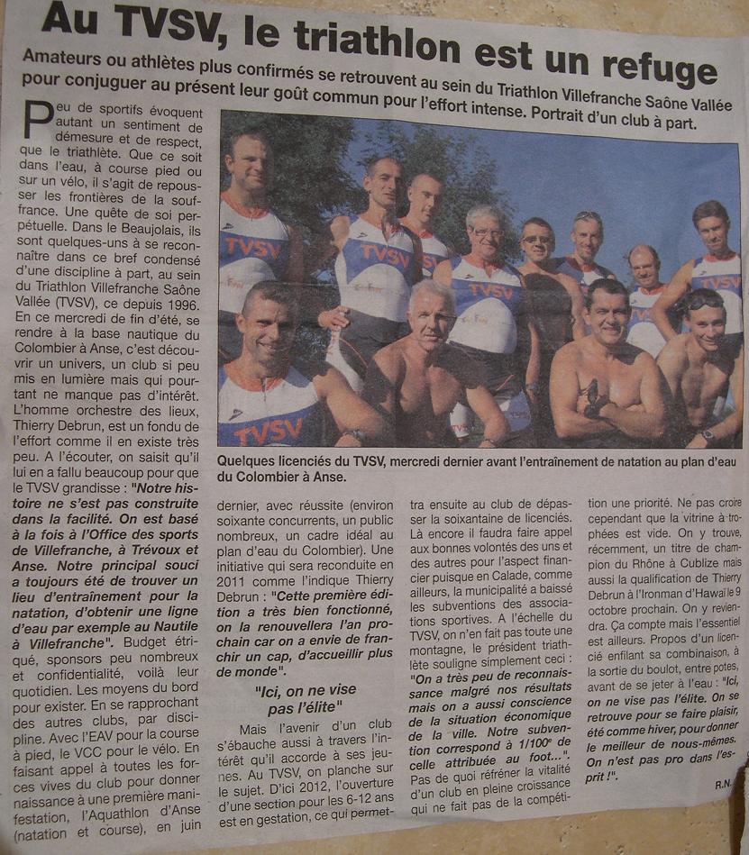 LE PROGRES  article sur le TVSV  AU TVSV, le triathlon est un refuge