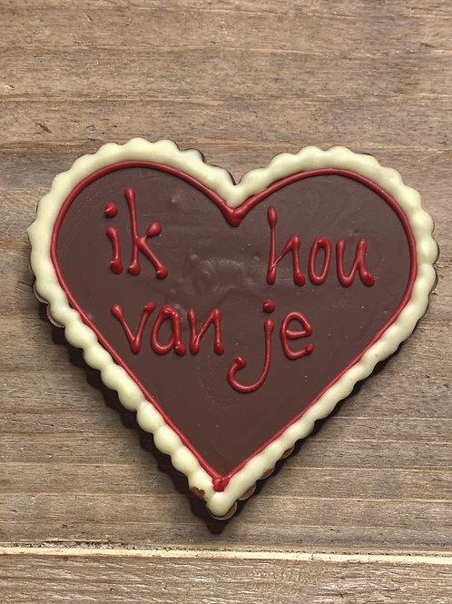 chocoladehart met tekst