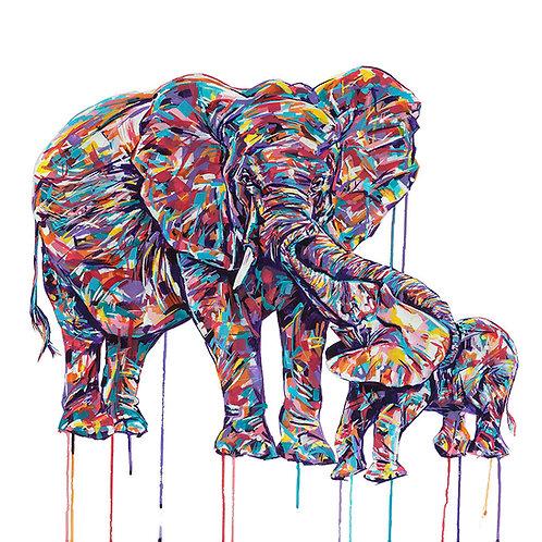 Elephants on canvas - Limited edition print