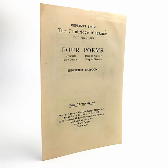 Four Poems by Siegfried Sassoon 1st / 1st 1918