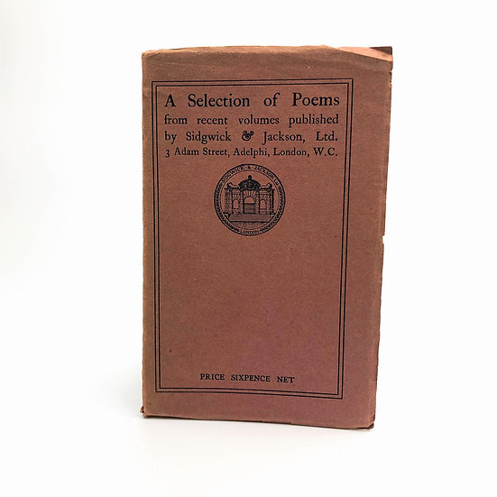 A Selection of Poems by Rupert Brooke, John Drinkwater & Co 1st 1916