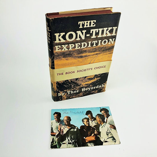 The Kon-Tiki Expedition - signed by the author with the scarce book society band