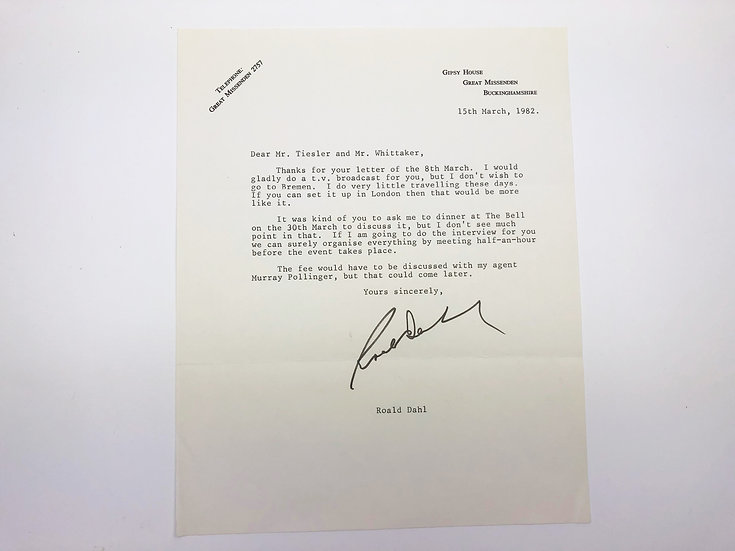 Typed Letter signed from Roald Dahl 1982
