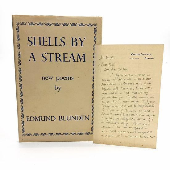 Shells by a Stream + 2 sided letter by Edmund Blunden 1st / 1st 1944