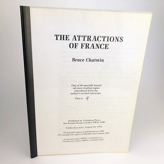 The Attractions of France by Bruce Chatwin advance reading copy 1 of 10 1993