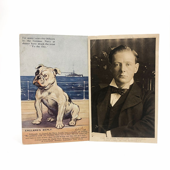 2 Postcards of Winston S Churchill First Lord of the Admiralty WW1 1914