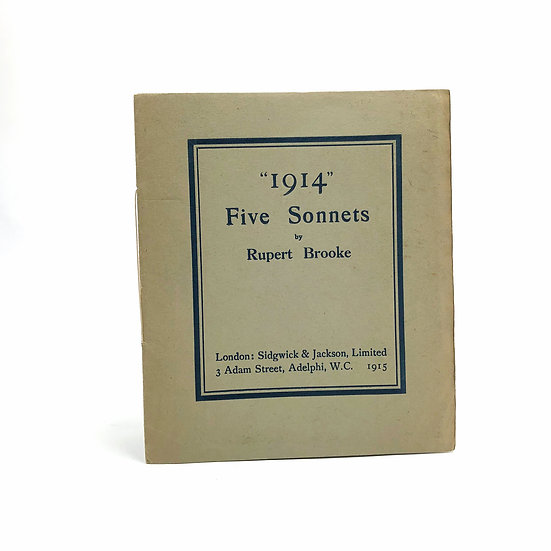 """1914"" Five Sonnets by Rupert Brooke 1st / 1st 1915"