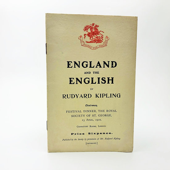 England and the English by Rudyard Kipling 1st / 1st 1920