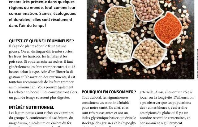 Les légumineuses: mon article du magazine Janette!