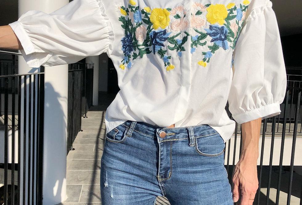 Flower power white top