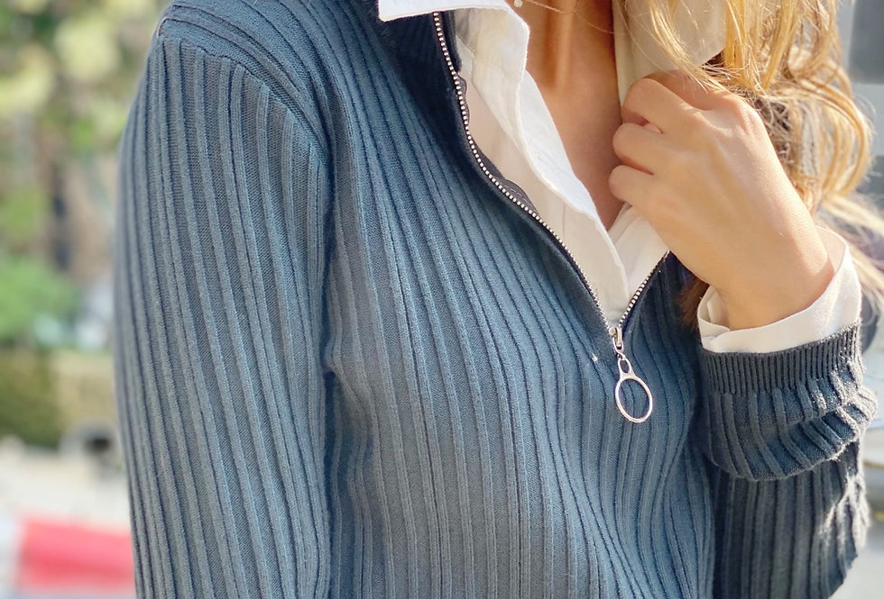 Zipper knit gray