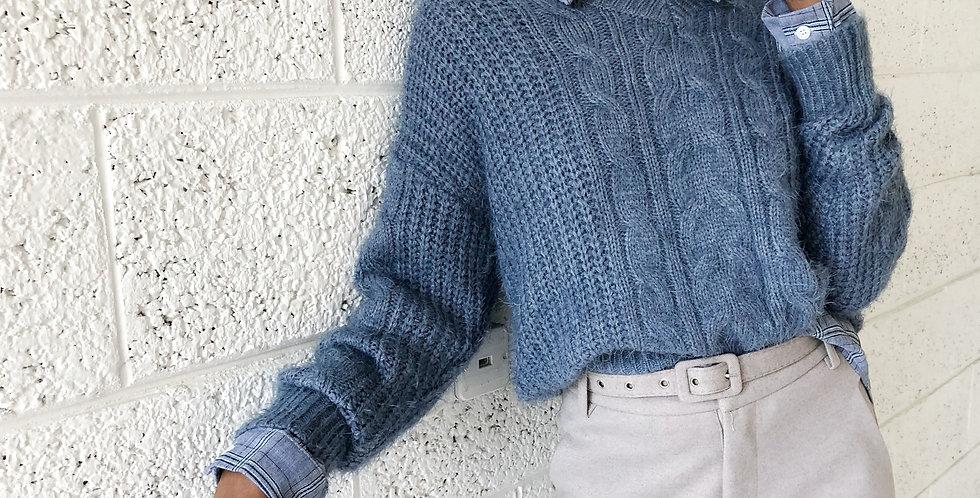 Blue sky knit top