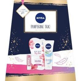 Nivea Pampering Trio Face Mask Moisturising Cream Lip Balm Boxed Gift Set