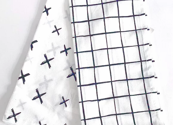 זוג מגבות כותנה איכותיות דגם איקסים שחור