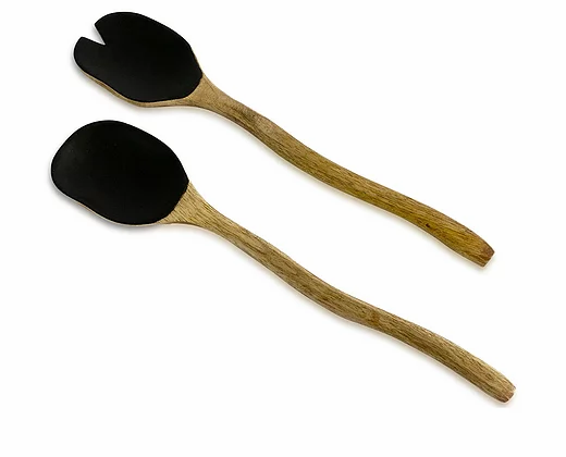 זוג כפות הגשה עץ מנגו ציפוי שחור
