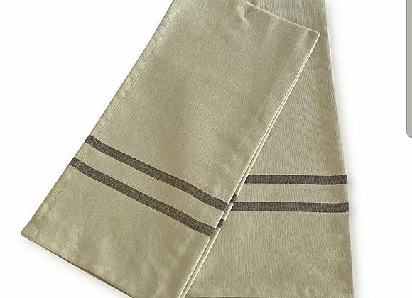 זוג מגבות מטבח כותנה איכותיות דגם אפור בהיר רקמה