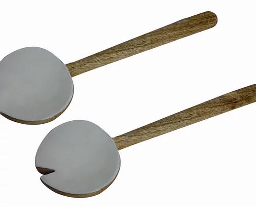 זוג כפות הגשה עץ מנגו + ציפוי לבן