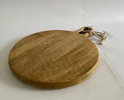 קרש חיתוך עץ מנגו טבעי +ידית צד