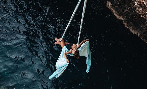 aerial artist over sea aerialsea