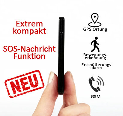 GPS Peilsender Ultra Thin - Gps Tracker + Abhörgerät Ultraflach mit Sos-Taste