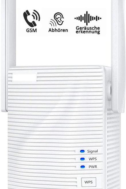 Getarnter GSM Abhörgerät Repeater WLAN Verstärker, Ethernet-Port, WPS