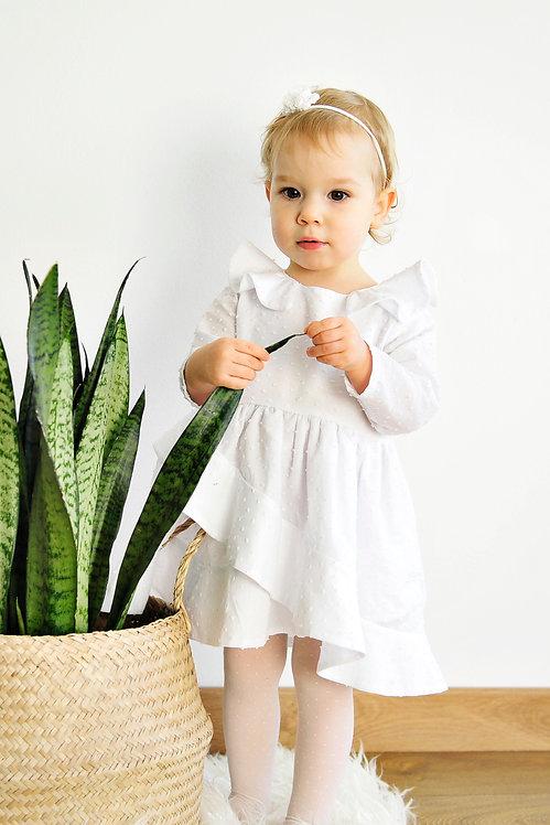Sukienice - biała bawełniana sukienka na Chrzest z falbanami