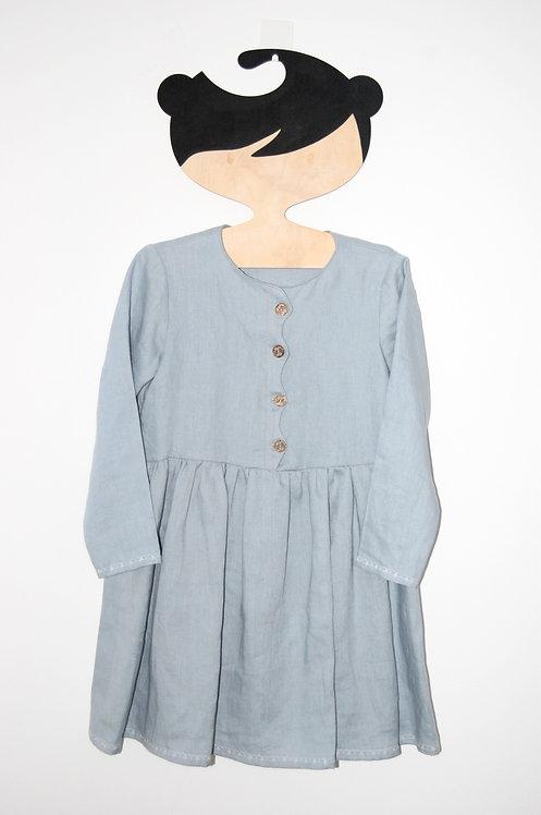 """Lniana sukienka """"Miłość"""" z ozdobną plisą, błękitna"""
