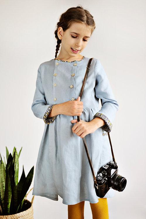 Sukienice - niebieska sukienka z lnu dla dziewczynki