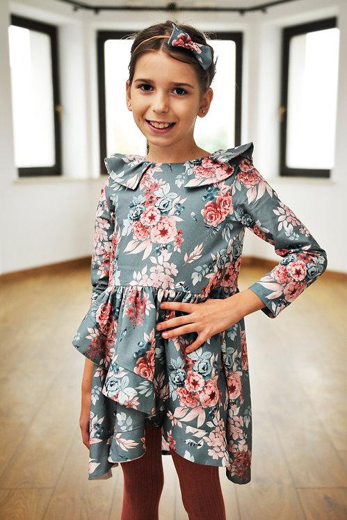Sukienice - bawełniana sukienka w kwiatki dla dziwczynki