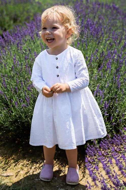 """Sukienka """"Miłość"""" z białej bawełny haftowanej"""