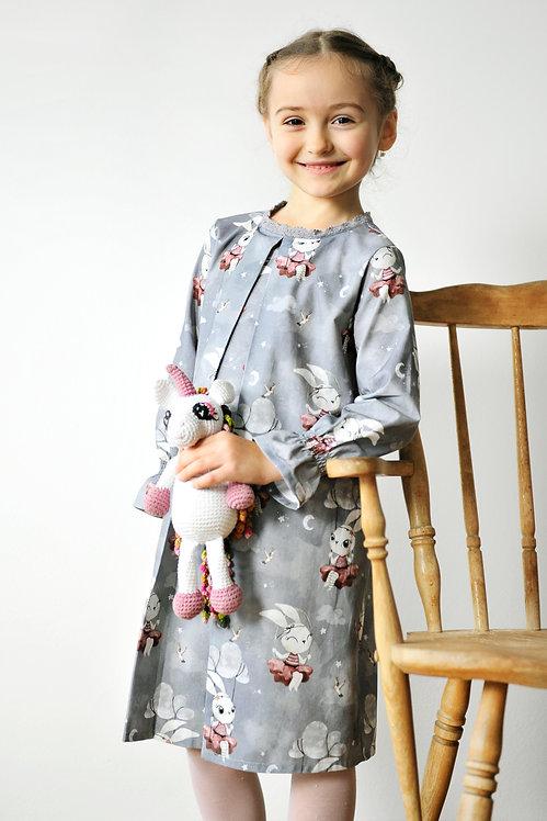 Sukienice - bawełniana sukienka w króliczki dla dziewczynek