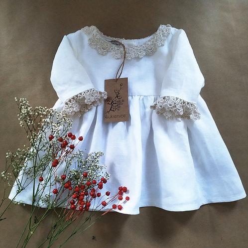 Sukienice - biała lniana sukienka do chrztu
