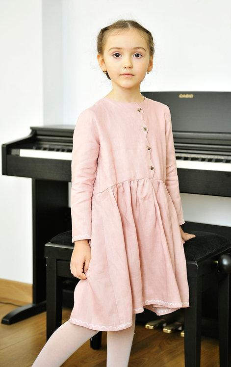 Sukienice - sukienka dziewczęca z lnu brudny róż