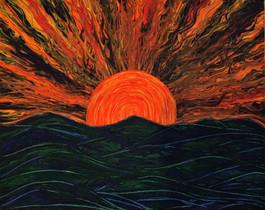 Big Ass Sunset Over Mountains