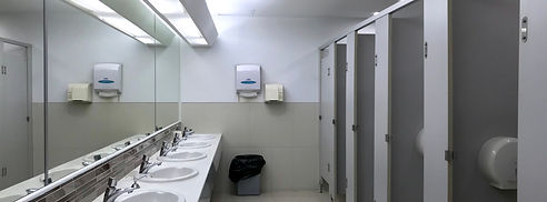 Row of public restroom, toilet interior