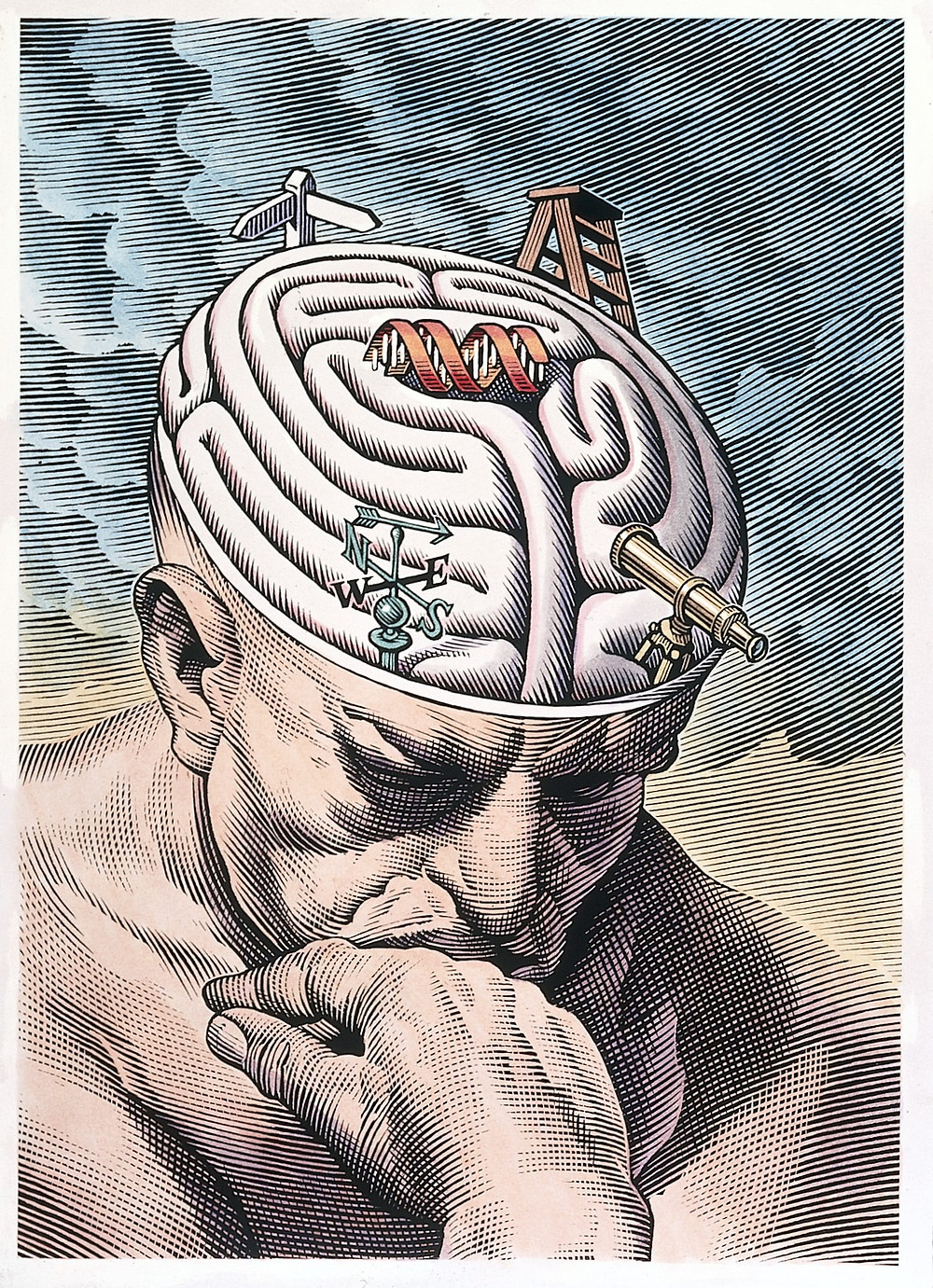 Illustration of man with brain showing | Berkeley Therapist Jesse Whittle-Utter