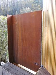 Gartentüre Stahl mit Edelpatina