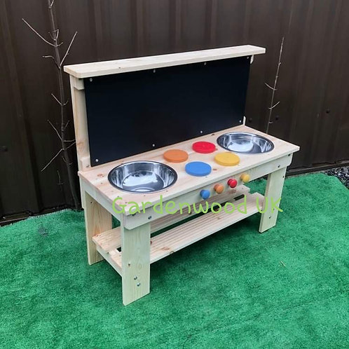 Garden Mud Kitchen, Centre Hobs, Double Bowl and Chalkboard