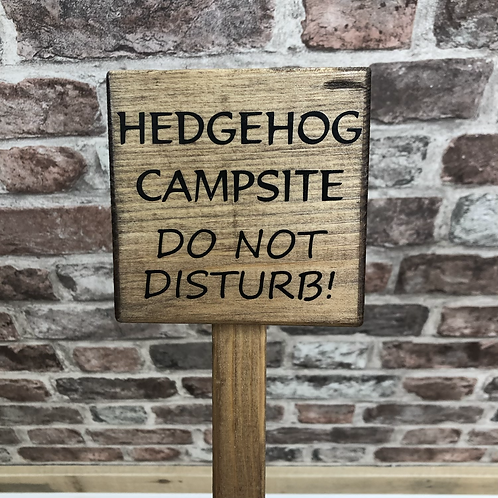 Hedgehog Campsite Wooden Sign. Different colours available.