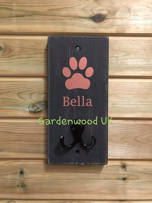 Grey Dog Lead Holder - different colour lettering available