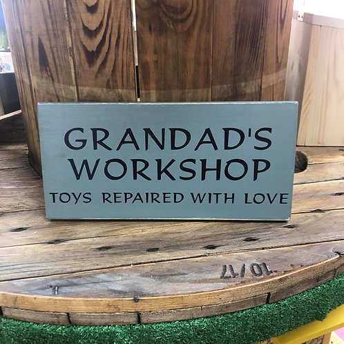 Handmade Wooden Grandad's Workshop Sign. Different colours available.