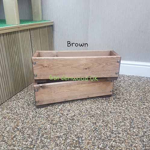 2x Brown Wooden Planter Boxes
