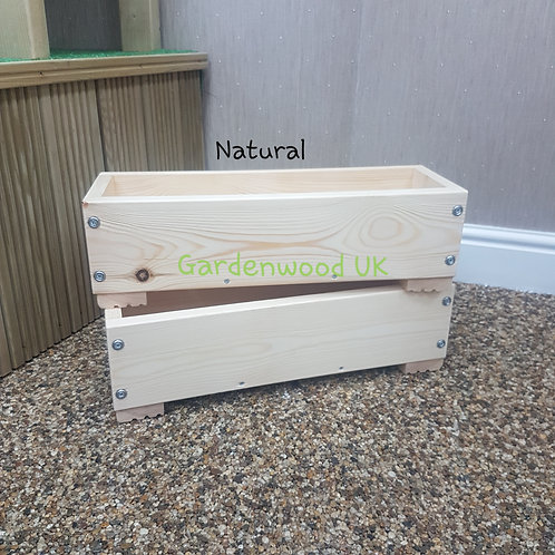 2x Natural Wooden Planter Boxes