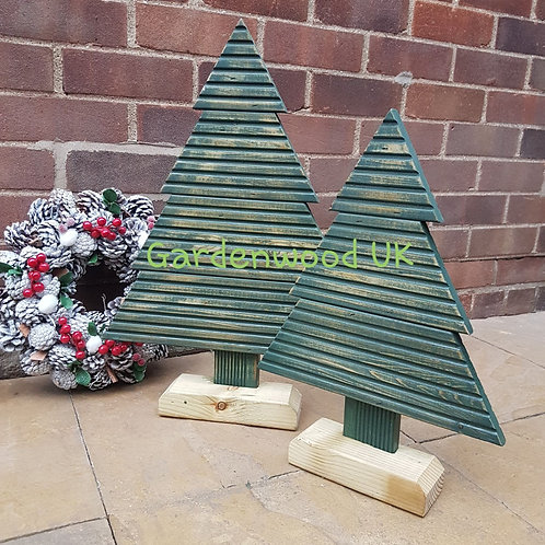 Set of 2 Green Medium Rustic Wooden Christmas Trees (Repurposed Decking)