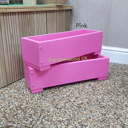 2x Pink Wooden Planter Boxes